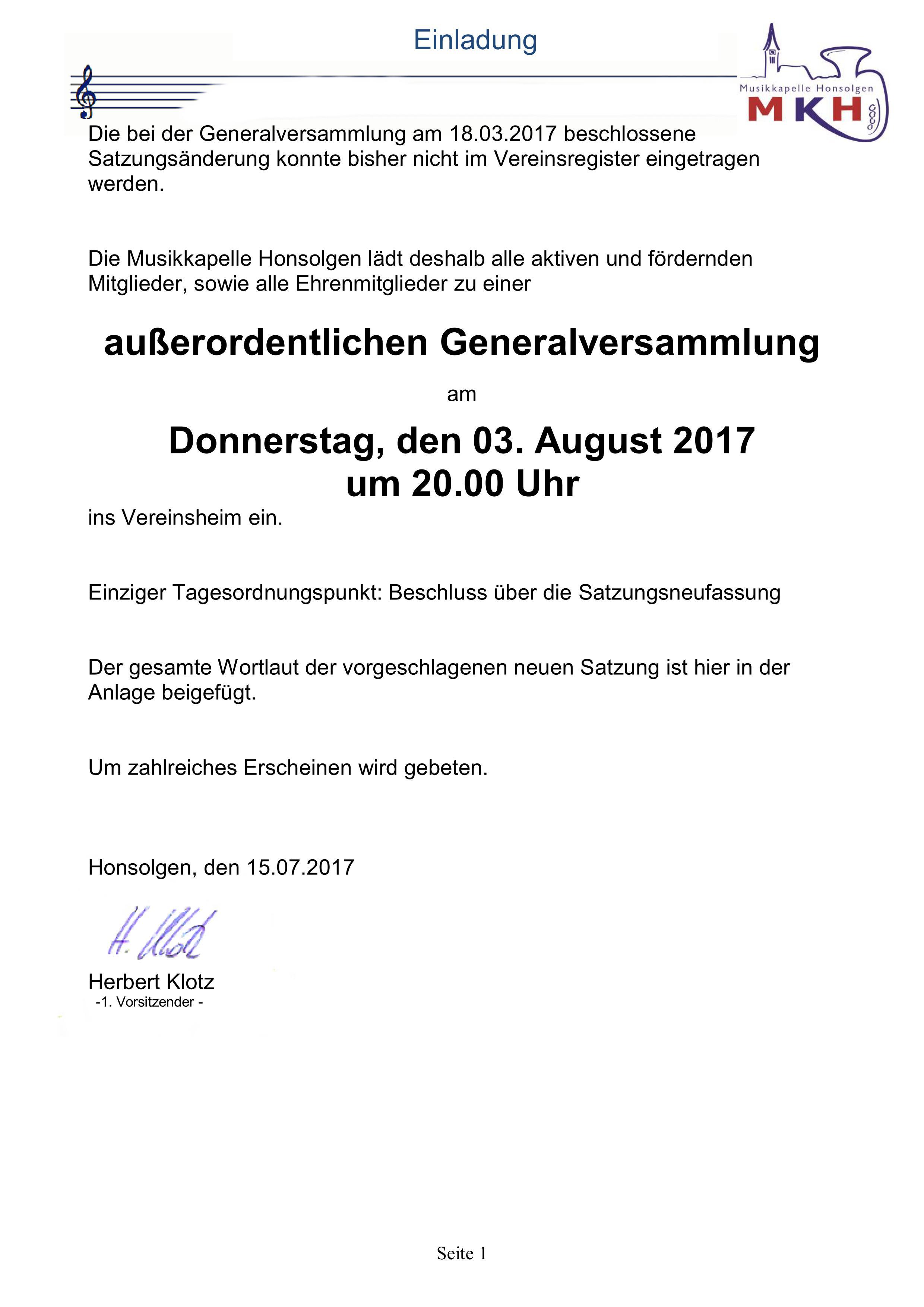 außerordentliche Generalversammlung – Musikkapelle Honsolgen e.V.
