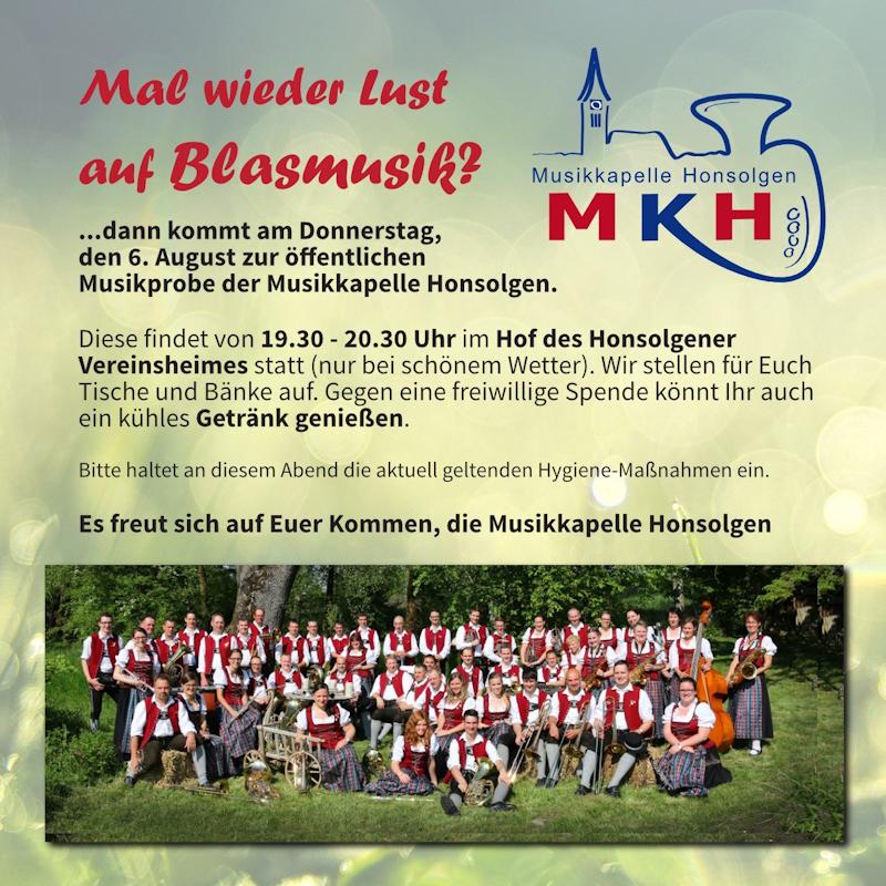 Öffentliche Musikprobe @ Vereinsheim Honsolgen